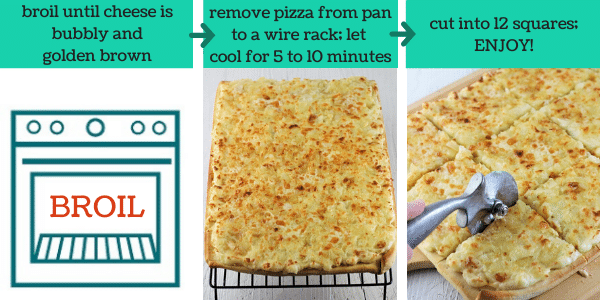 three images showing how to make pagach pierogi pizza