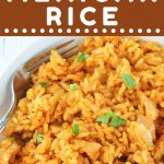 bowl of mexican rice with a fork with a text overlay that says now cook this quick and easy mexican rice