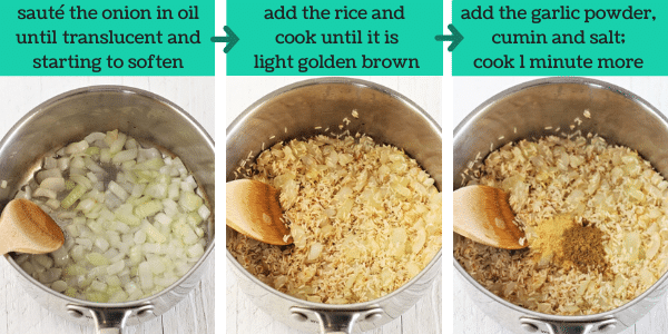 three images showing the steps to make quick and easy mexican rice