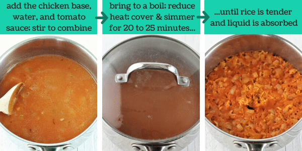 three images showing the steps to make mexican rice