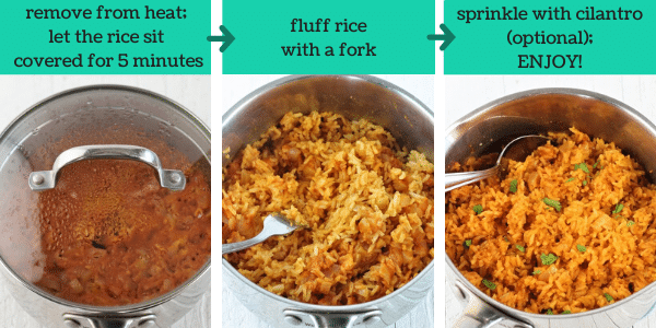 three images showing how to make quick and easy mexican rice