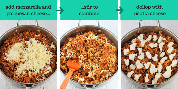 three images showing how to make quick and easy skillet lasagna