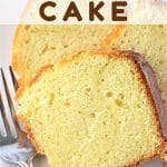 three slices of pound cake on a plate with a fork with a text overlay that says vanilla almond pound cake nowcookthis.com
