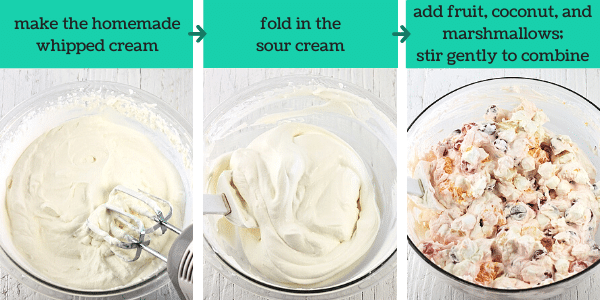 three images showing the steps to make ambrosia salad