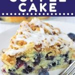 slice of coffee cake on a white plate with a fork with a text overlay that says now cook this blueberry almond coffee cake