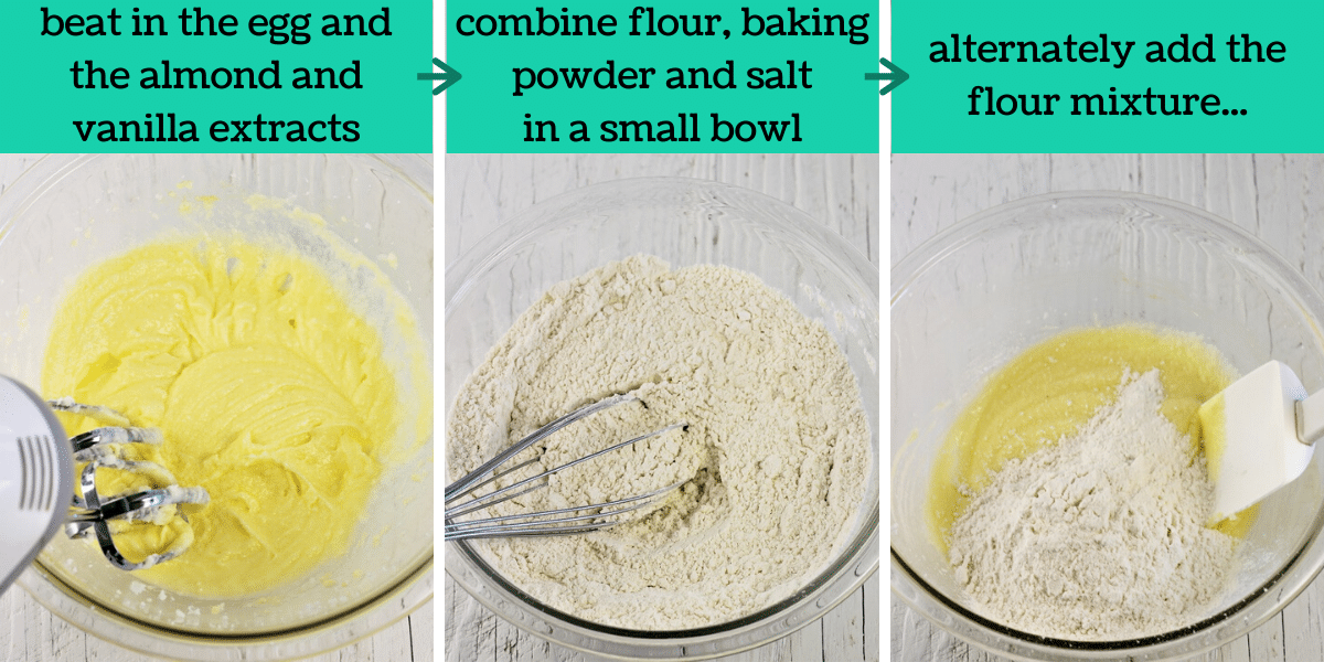 three images showing the steps to make the coffee cake