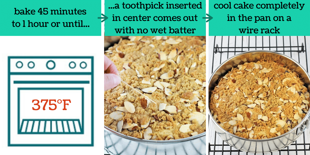 three images showing how to make the coffee cake