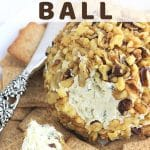 cheese ball on a plate with crackers and a knife with a text overlay that says cheddar and onion cheese ball nowcookthis.com