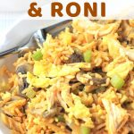 bowl of rice, chicken, vegetables, and eggs with a text overlay that says chicken fried rice and roni nowcookthis.com