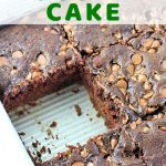 chocolate cake in a pan with a piece taken out with a text overlay that says chocolate zucchini cake nowcookthis.com