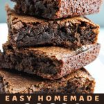 a stack of brownies with a text overlay that says now cook this easy homemade cocoa brownies