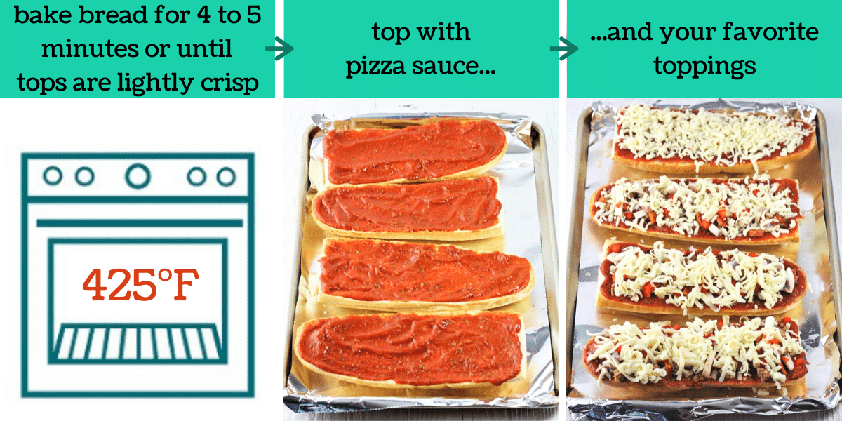 three images showing the steps to make homemade french bread pizza