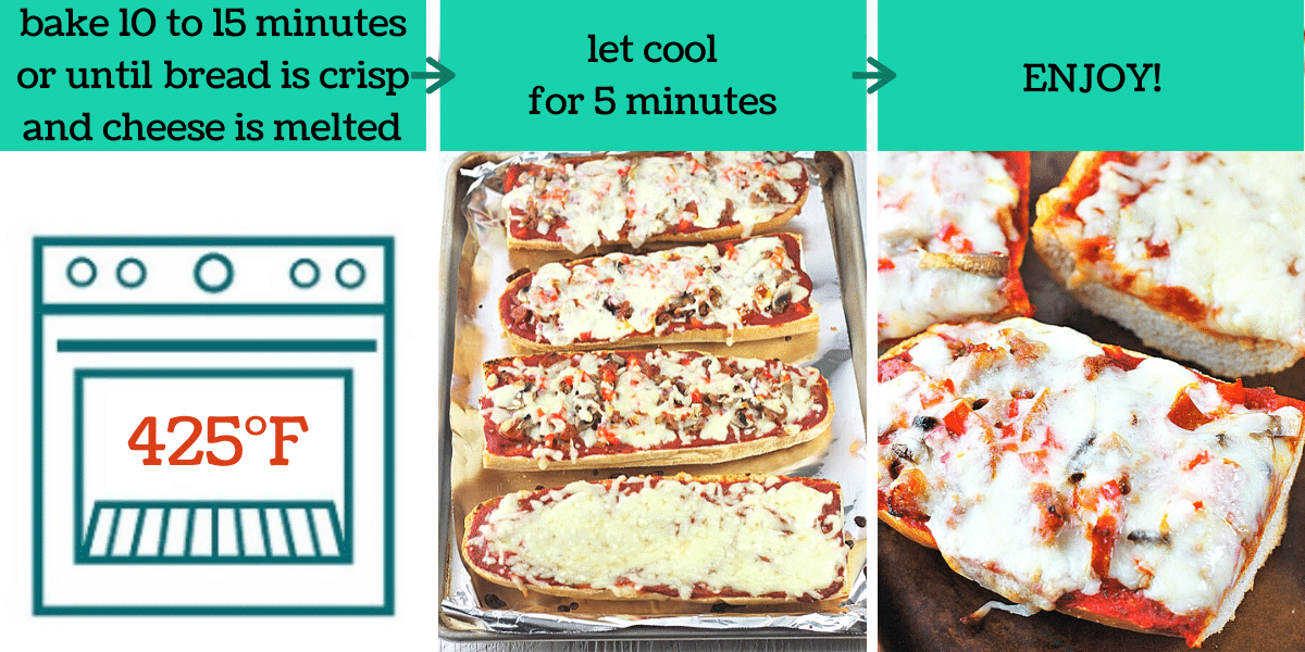 three images showing how to make homemade french bread pizza