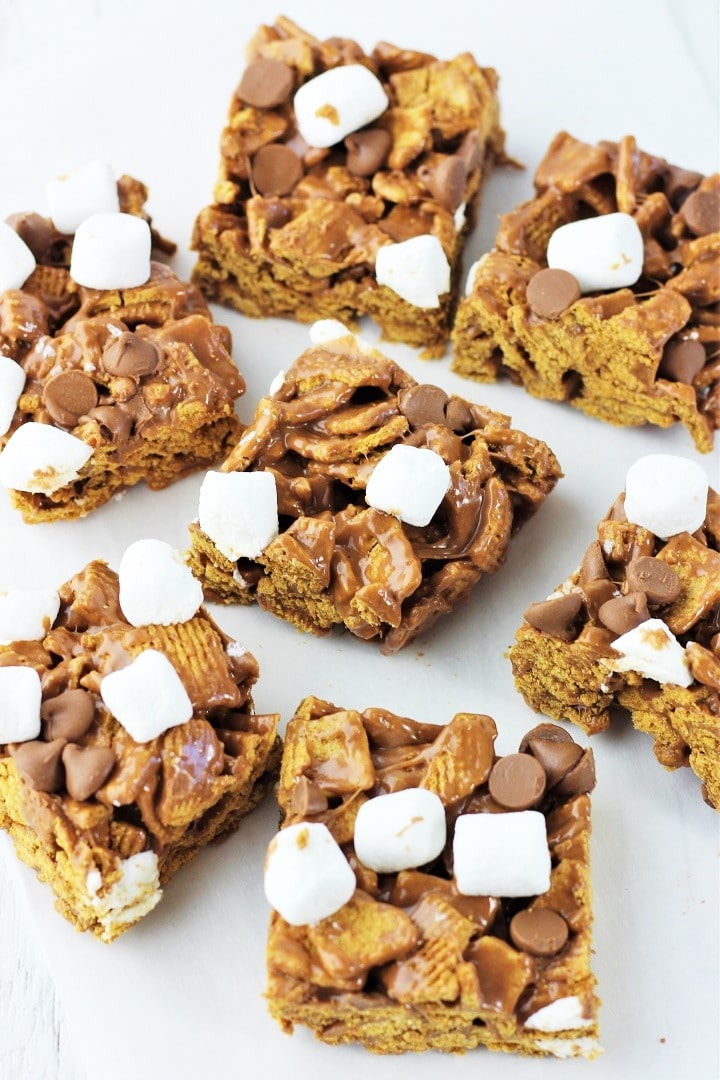 no-bake s'mores treats squares scattered on a white surface