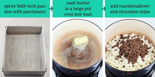 three images showing the steps to make no-bake s'mores treats