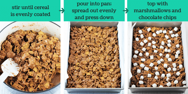 three images showing how to make no-bake s'mores treats