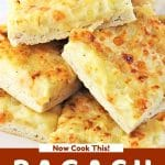 pieces of pagach stacked on a plate with a text overlay that says now cook this pagach pierogi pizza