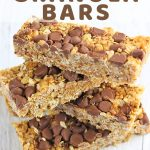 stack of granola bars with a text overlay that says peanut butter and chocolate chip no bake granola bars nowcookthis.com