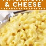 bowl of macaroni and cheese with a text overlay that says now cook this stove top macaroni and cheese