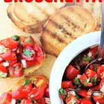 bruschetta, a bowl of tomatoes and pieces of toast with a text overlay that says now cook this tomato basil bruschetta