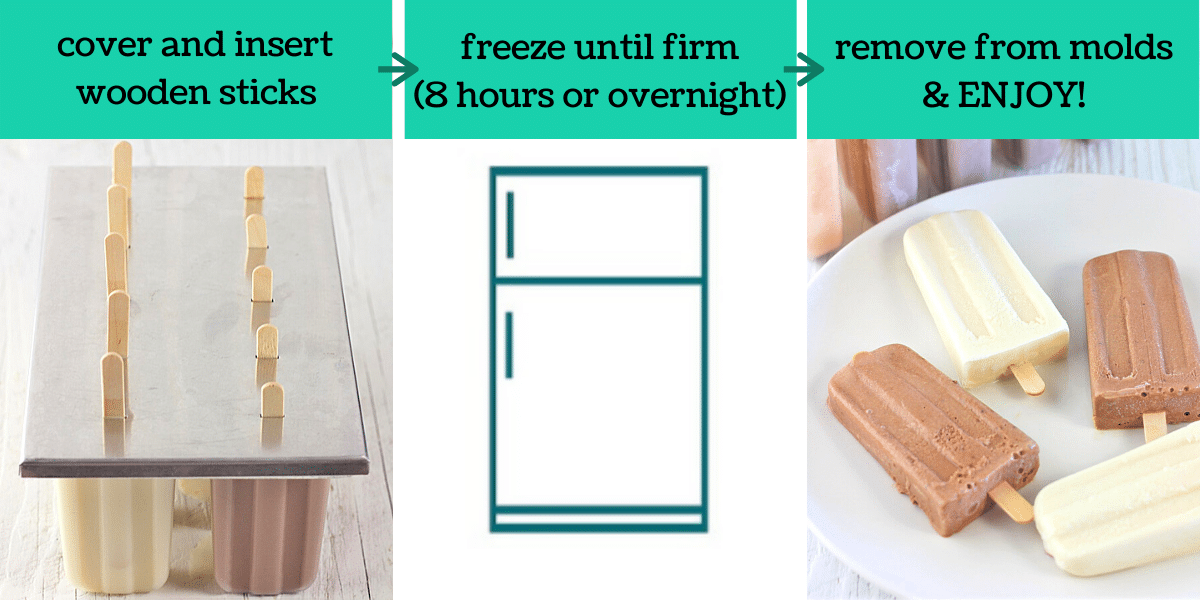 three images showing the steps to make vanilla and chocolate homemade ice cream bars