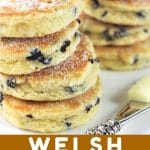 two stacks of welsh cookies with a text overlay that says now cook this welsh cookies (welsh cakes)