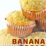 stacked muffins with a text overlay that says now cook this banana bread muffins
