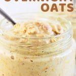 oatmeal in a jar with a spoon with a text overlay that says now cook this basic overnight oats