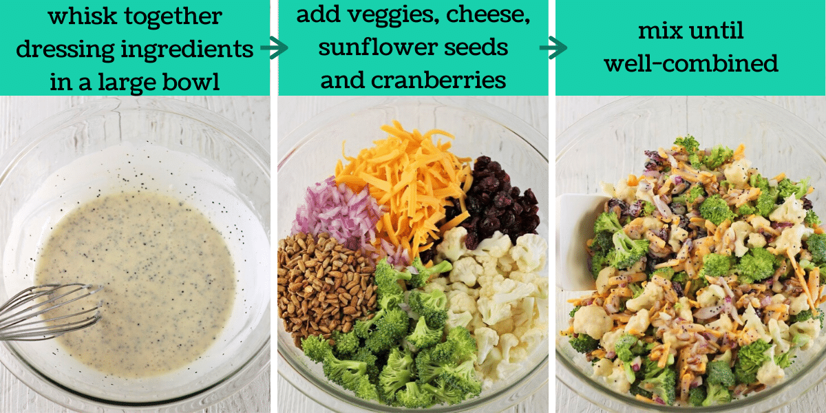 three images showing the steps to make broccoli and cauliflower salad