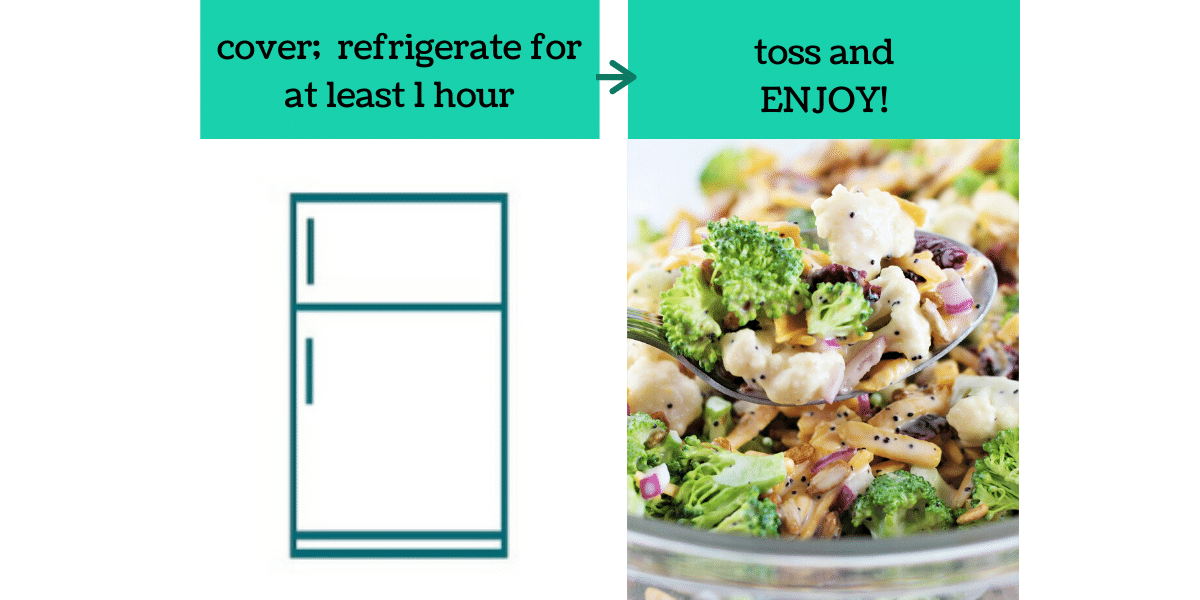 two images showing the steps to make broccoli and cauliflower salad