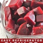 beets in a glass bowl with a spoon with a text overlay that says now cook this easy refrigerator pickled beets