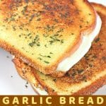 grilled cheese sandwiches on a plate with a text overlay that says now cook this garlic bread grilled cheese
