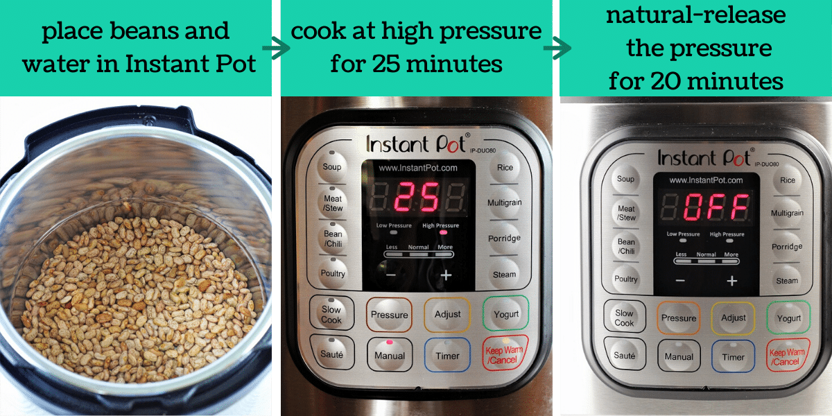three images showing the steps to make instant pot pinto beans