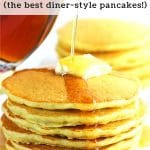stack of pancakes with butter and syrup with a text overlay that says malted cream of wheat pancakes the best diner style pancakes nowcookthis.com