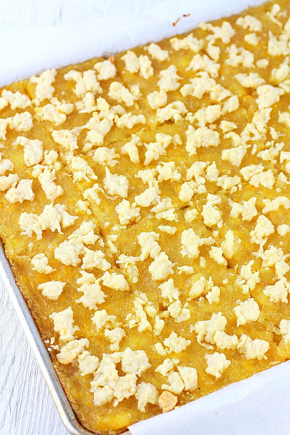 baking pan of pineapple squares