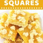 pineapple squares piled on a plate with a text overlay that says now cook this pineapple squares