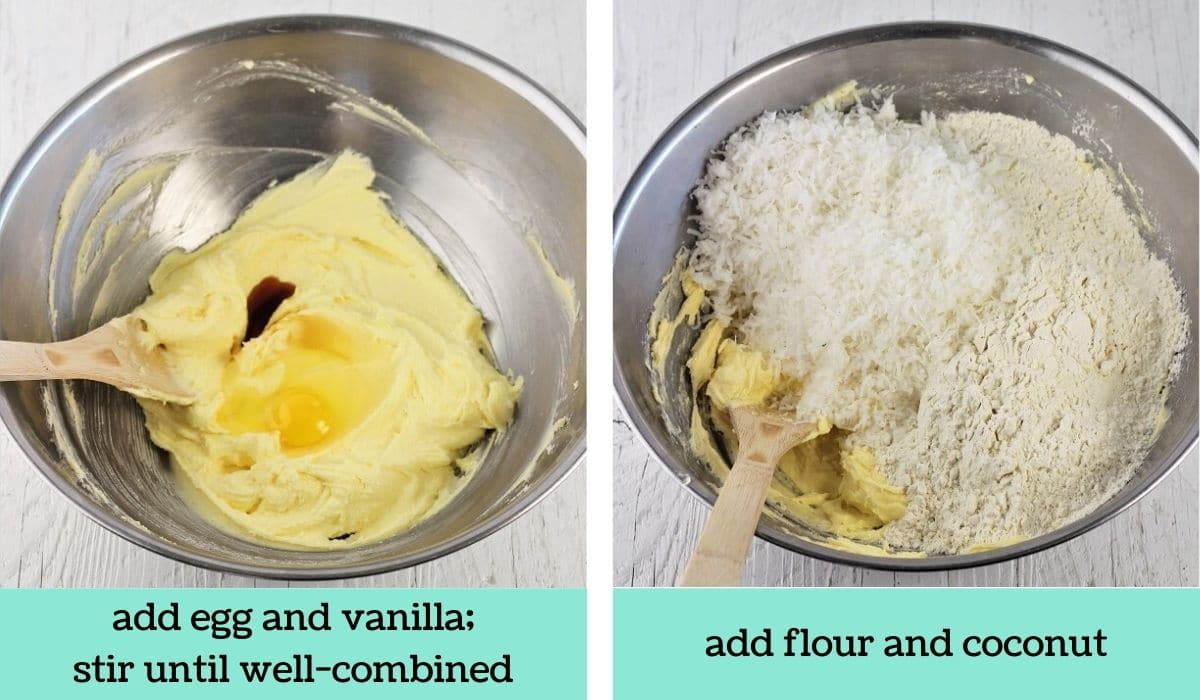 two images showing the steps to make pineapple squares