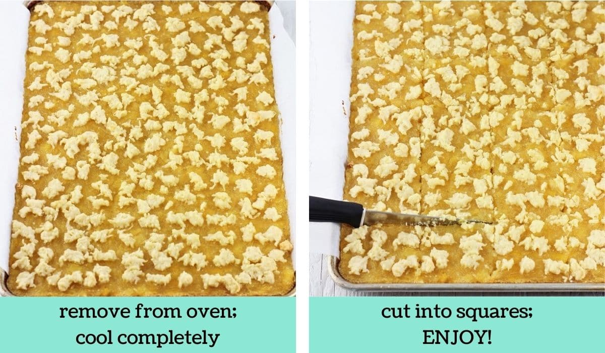 two images showing how to make pineapple squares