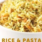 bowl of rice and pasta pilaf with a text overlay that says now cook this rice and pasta pilaf homemade rice-a-roni