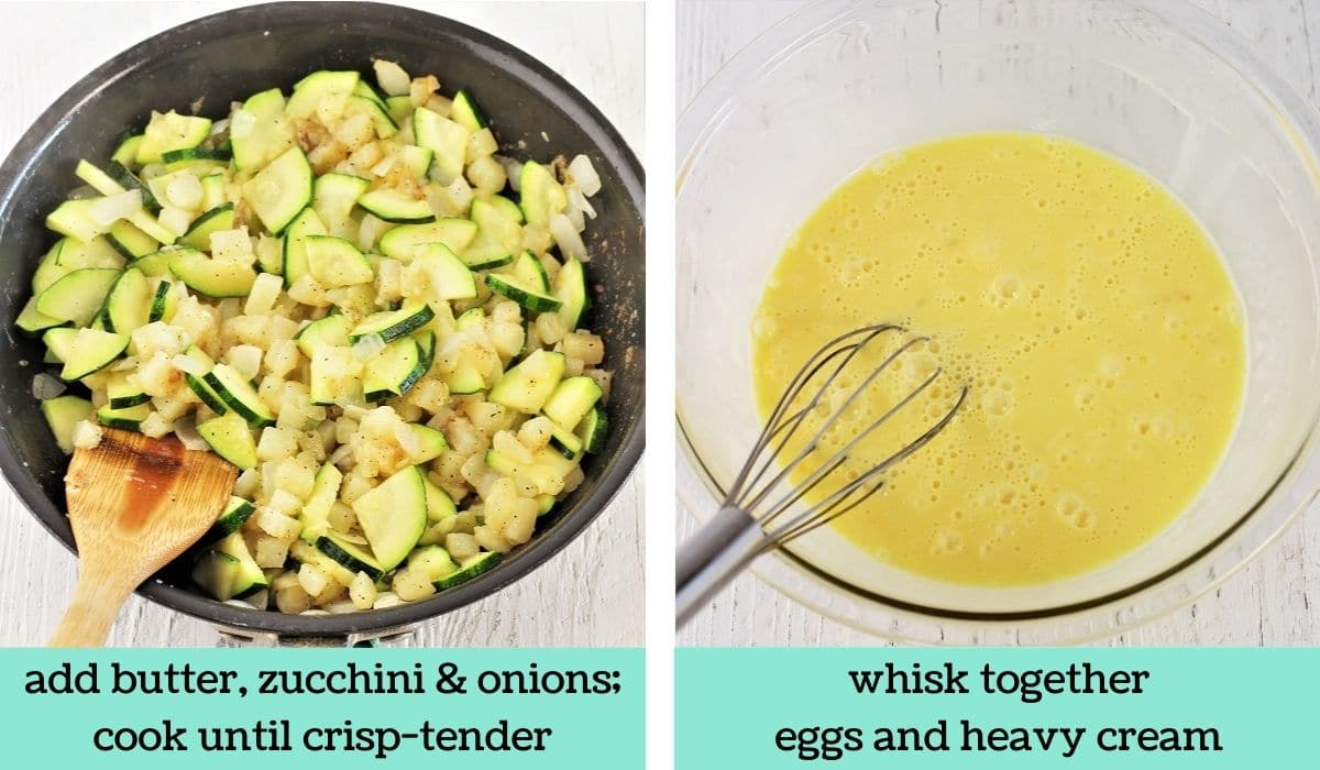 two images showing the steps to make zucchini and potato frittata