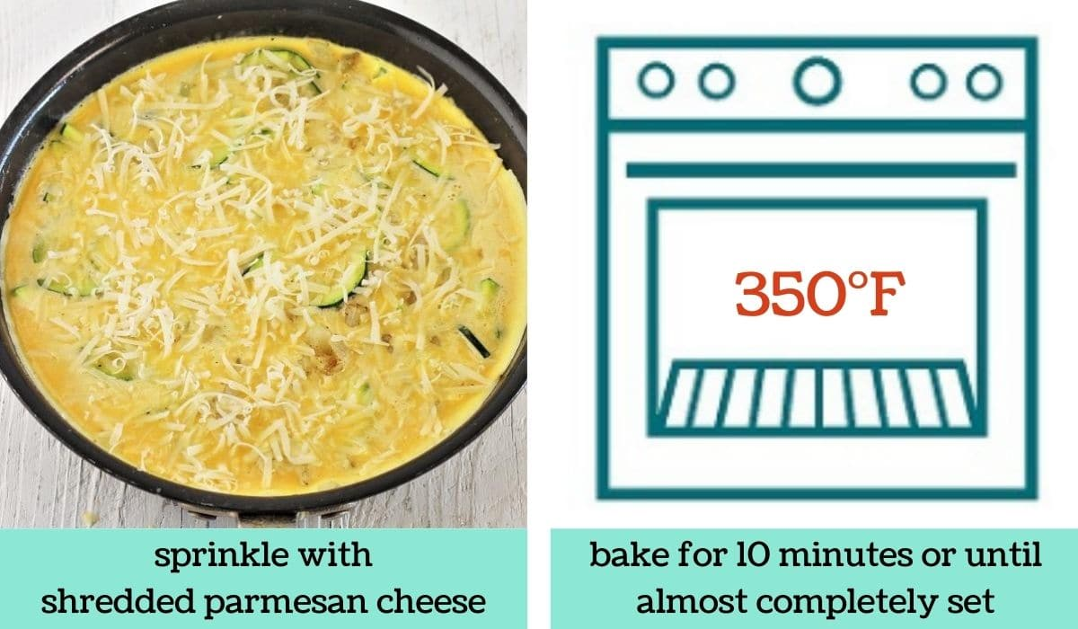 two images showing how to make a zucchini and potato frittata