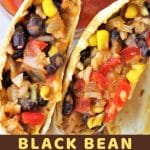 closeup of a burrito cut in half with a text overlay that says now cook this black bean and rice burritos