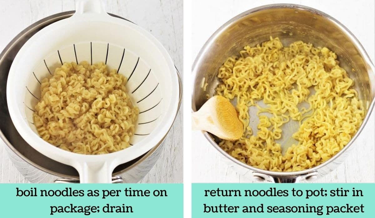 two images showing the steps to make breakfast ramen noodles denver omelet style