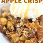 caramel apple crisp with ice cream with a text overlay that says now cook this caramel apple crisp