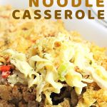 spoonful of a casserole being taken out of the dish with a text overlay that says now cook this chicken noodle casserole