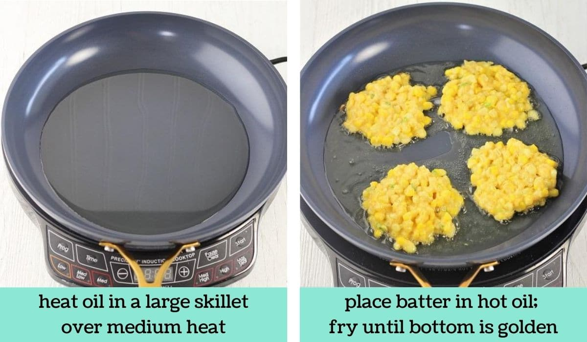 two images showing the steps to make easy cheesy corn fritters