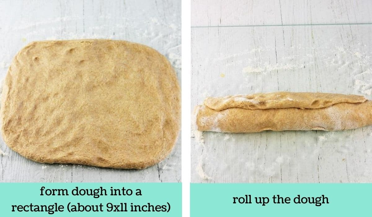 two images showing the steps to make half whole wheat bread
