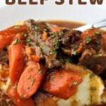 beef stew in a bowl with a text overlay that says now cook this instant pot beef stew