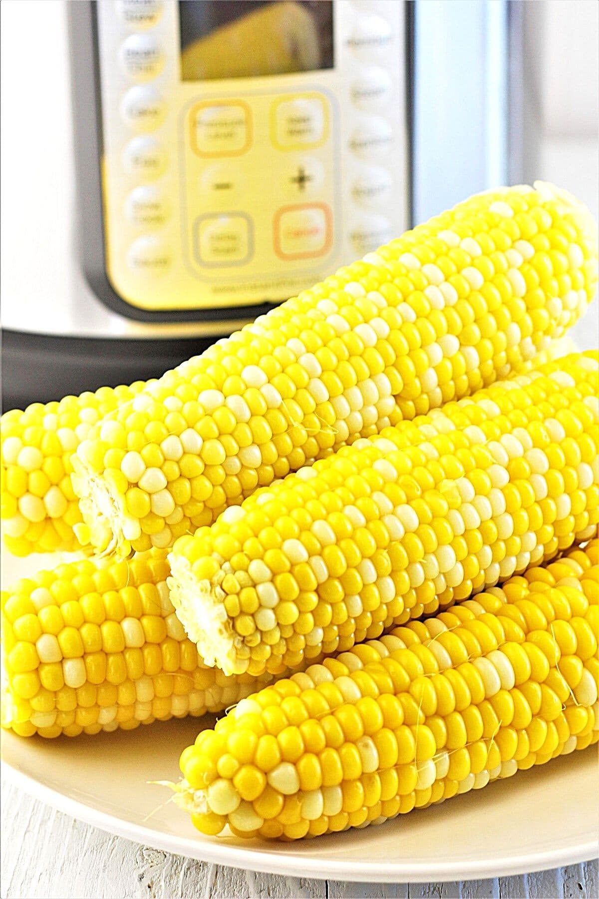 6 ears of corn on the cob on a white plate in front of an instant pot