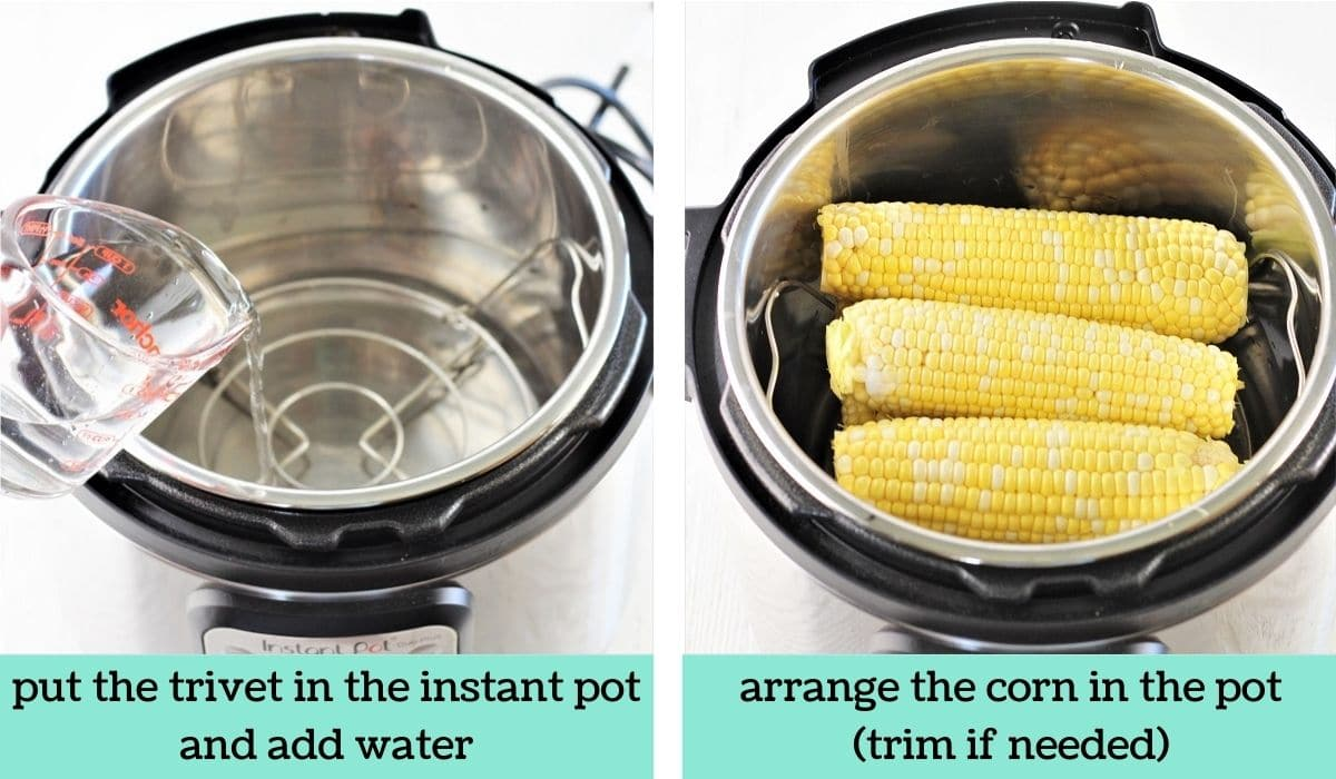 two images showing the steps to make instant pot corn on the cob